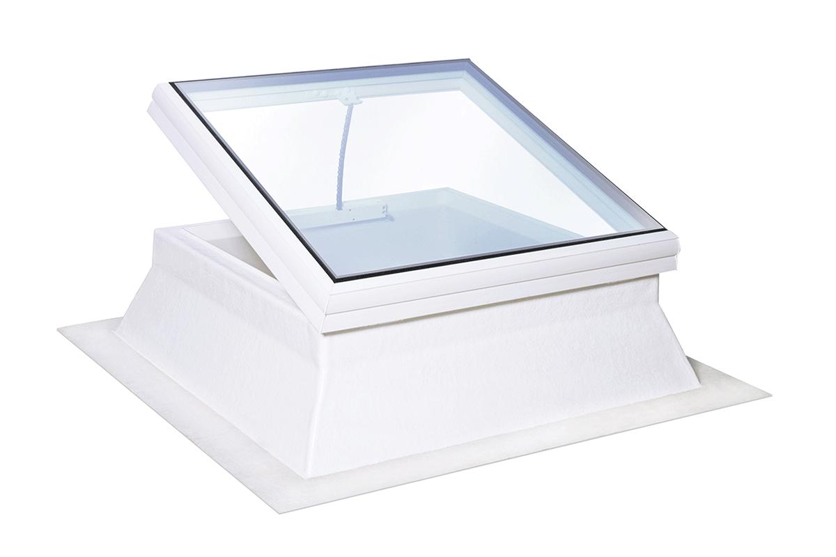 Glaskuppel Flachdachfenster quadratisch elektrisch